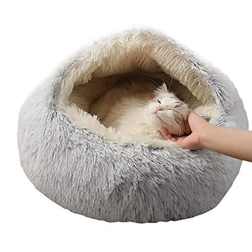 CATISM Cama para Mascotas para Gato, 50 cm Redondo de Felpa Suave para Mascotas Cojín para Dormir Sofá cálido para Gatitos de Interior y Perros pequeños, Fondo Impermeable Antideslizante, Gris