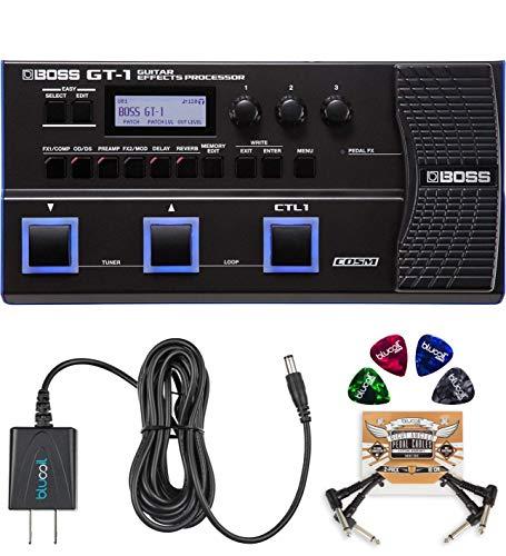 BOSS GT-1 Guitar Multi-Effects Processor Bundle with BOSS Tone Studio, Blucoil 9V...