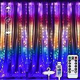 Cortina LED de luz de hadas - 280Led de cadena que cambian de color, 8 modos remotos de ventana luces de Fariy para dormitorio, boda, fiesta, hogar, jardín, dormitorio, decoración (Multicolor)