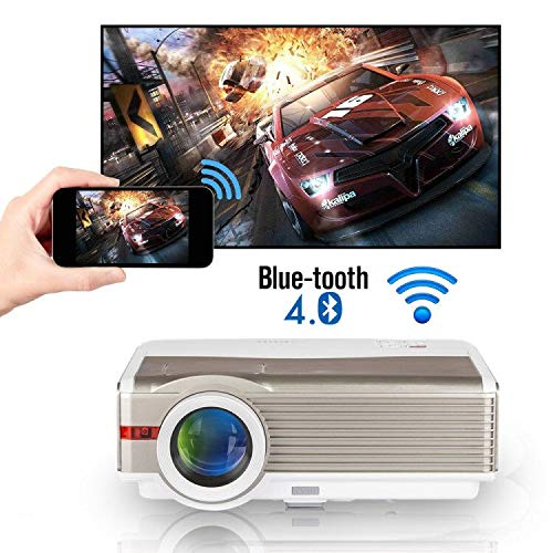 5000 Lumens WXGA Wifi Bluetooth Projector LCD HD 1080P Airplay Supported LED Android Home Theater Video Projector Outdoor Wireless HDMI USB VGA AV Audio for iPhone iPad TV PC DVD XBOX PS4 Laptop Game