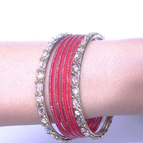 Indian Ethnic Design-vergoldet Kundan Perlen CZ Armreifen Set Traditionelle Schmuck 2* 8