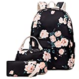 Goodking Floral Canvas Backpack for Women Teen Girls School Rucksack College Bookbag Lady Travel Backpack 14Inch Laptop Bag