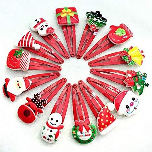 Lot de 10 épingles à cheveux avec chapeau de dessin animé Bonhomme de neige Cadeau de Noël pour filles – Style aléatoire