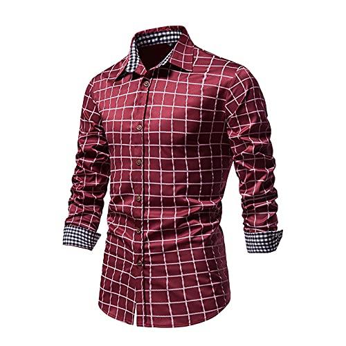 SSBZYES Camisas para Hombres Camisas De Manga Larga para Hombres Camisas a Cuadros para Hombres Camisas Abotonadas Camisas Informales Tops Casuales De Manga Larga para Hombres