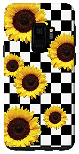 Galaxy S9 Sunflower Checkered Checkerboard Black and White Girly Phone Case