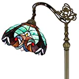 Tiffany Style Reading Floor Lamp Lighting W12H64 Inch Green Stained Glass Liaison Lampshade Antique Adjustable Arched Base S160G WERFACTORY LAMPS Living Room Bedroom Beside Table Girlfriend Lover Gift