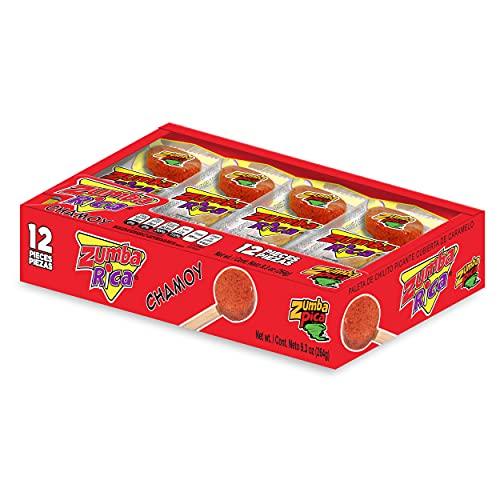 Zumba Rica Chamoy Chili Powder Lollipop 12pcs - Chamoy Lollipops with Chili Powder Cover with Caramel - Mexican Lollipop - Chamoy Candy - Mexican Suckers with Chili Powder - Mexican Candy