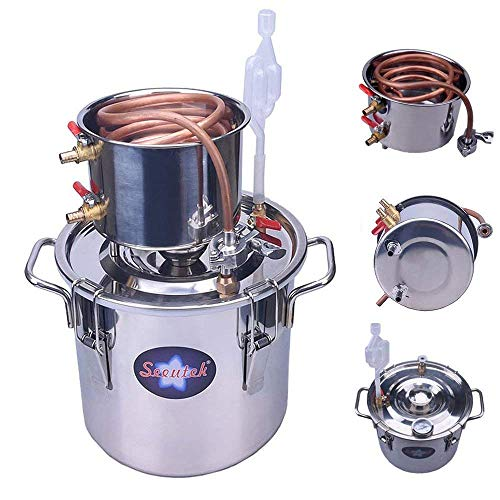 Seeutek 5 Gallon 18L Copper Tube Moonshine Still Spirits Water Alcohol Distiller Home Brew Wine Making Kit Stainless Steel Oil Boiler, 5Gal, Silver