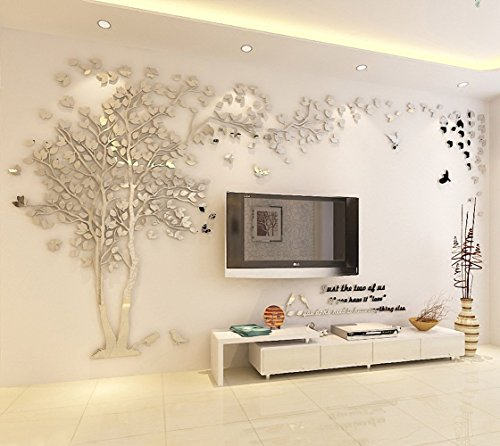Woneart 3D DIY Riesig Paar Baum Wandtattoos Wandaufkleber Kristall Acryl Wandtattoo Aufkleber Vögel Vine Zweig Wandkunst Wohnzimmer Schlafzimmer Kinderzimmer Sticker (XL, Silver, Right)