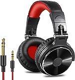 OneOdio Over Ear Kopfhörer mit Kabel Geschlossene Studiokopfhörer mit Share Port Mikrofon Adapter-frei Professionelle Bass DJ Headphones für Podcast, Recording, Monitoring PC TV Rot