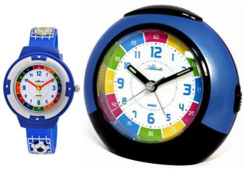 Despertador infantil sin tictac, azul con reloj de pulsera de fútbol, 1678-5 KAU_nuevo