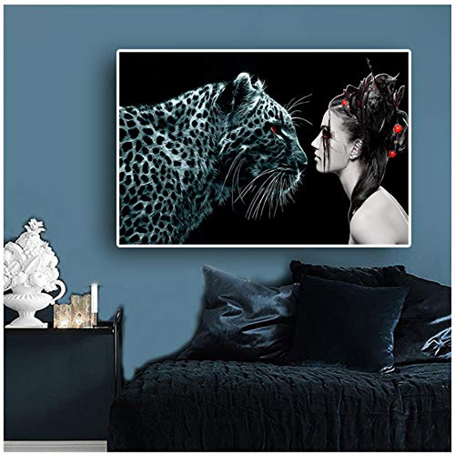 sjkkad heks meisjes grote kat fantasie luipaarden dieren posters en afdrukken Scandinavische stijl canvas kunst muurschildering voor woonkamer -60x80cm geen lijst