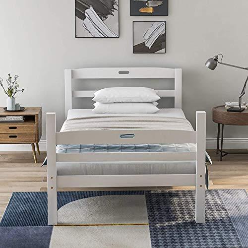Holzbett Einzelbett Matratze Bettgestell mit Lattenrost Kopfteil mit Griff für Kinder Jugendliche und Erwachsene Weiß...