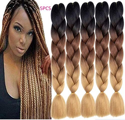 Lot de 5 extensions de cheveux pour extensions de cheveux Noir Marron foncé Marron clair 3 tons