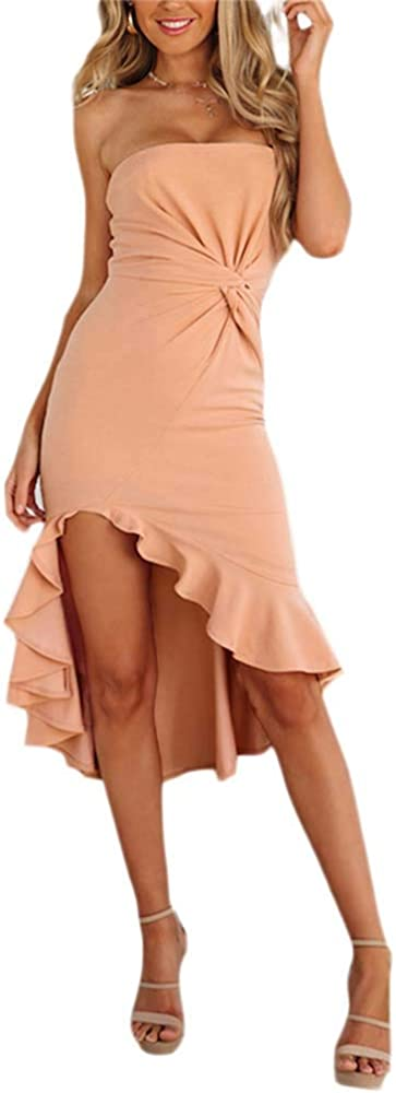 Guyay Women's Solid Off-Shoulder Tube Dress Bodycon Irregular Ruffle Hem Evening Cocktail Party Dress