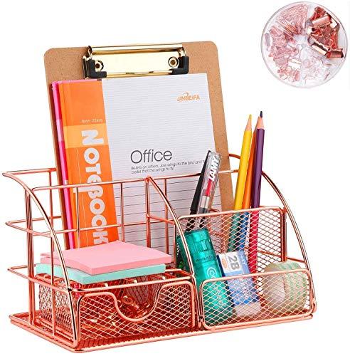Organizer da scrivania con cassetto, colore oro rosa, scomparto portaoggetti e 4 sezioni verticali, organizer compatto da ufficio in metallo, cassetto, porta fazzoletti, portapenne (72 clip gratuite)