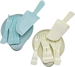 PCTC Disposable Plates, Plastic Birthday Cake Cutlery Fork Spoon Set Disposable Cake Knife Fork and Plate Baking Set