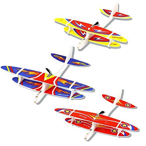 Herefun 3 Stücke Segelflugzeug, Flugzeug Spielzeug, Gleitflugzeuge Modell Schaum Styropor Flugzeug, USB Aufladbar Outdoor-Sportarten Spielzeug (B)