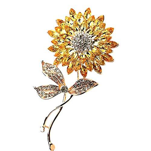 ZHBSS Sonnenblume Kristall Brosche, Mode Sonnenblume Corsage, Frauen Abendkleid Zubehör 6,6 * 3,2 cm Gelb