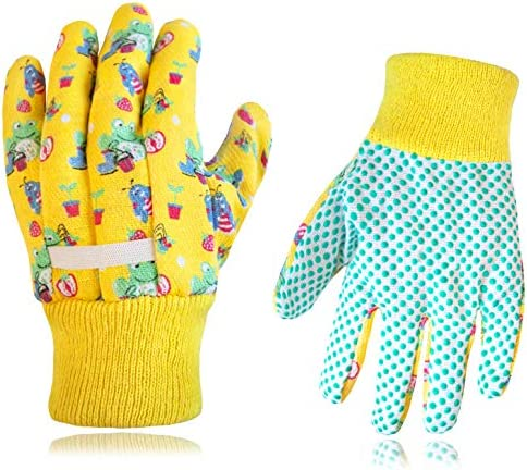 Kids Garden Gloves 2 PAIRS Cotton with Grip Woven wristband By Earth Wind Flowers product image
