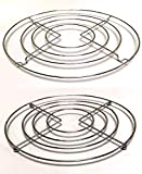 2 x CHROME HOT PAN POT STANDS STAINLESS STEEL ROUND TRIVET HOLDER KITCHEN