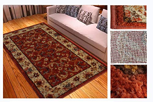 Comercial Candela Alfombra de Salón Frise Pelo Largo Tupido Diseño Floral Color (Caldera, 160_x_230_cm)