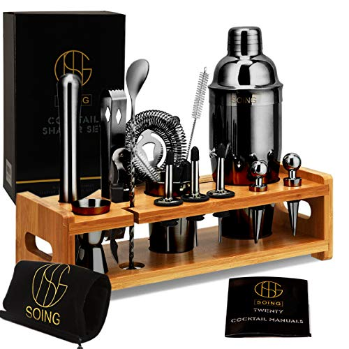 Soing Bartender Kit Cocktail Shaker Set,Stainless Steel Bar Tools With Bamboo Stand,Velvet Carry Bag & Recipes Booklet (Black)