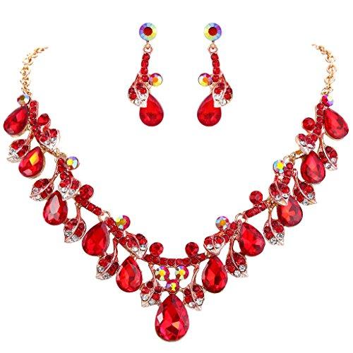 Clearine Damen Hochzeit Braut Kristall Tropfen Cluster Blatt Vine Statement Halskette Dangle Ohrringe Rubin Rot Gold-Ton