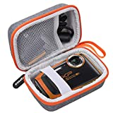 Aproca Duro Viajes Funda Bolso Caso para Fujifilm finepix XP120/130/140/80/90 cámara acuática (Grey with Orange Zipper)