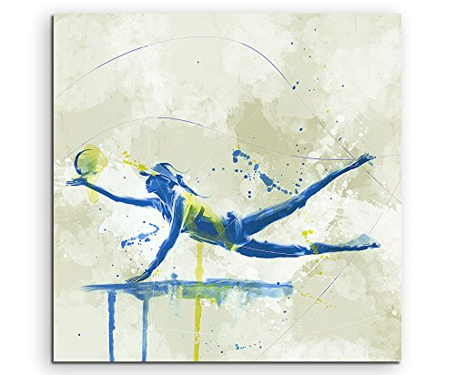 Paul Sinus Art Beach Volleyball 60x60cm SPORTBILDER Splash Art Wandbild Aquarell Art