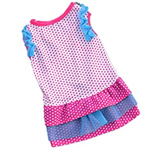 Ollypet Dog Dresses for Small Puppy Cat Girl Polka Dot Pink Pet Apparel Clothes Summer