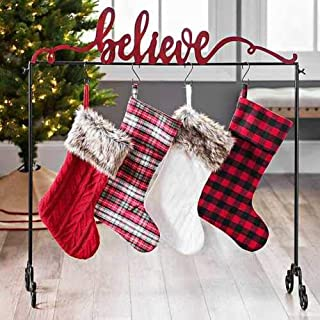 Black Red Metal Believe Freestanding Christmas Stocking Holder Stand Decor Free Standing Stocking Hanger Stand