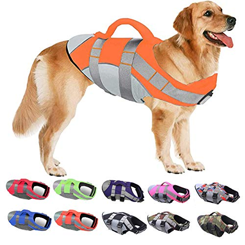 PJDDP Schwimmweste Für Hunde,Hundeschwimmweste,Ripstop Reflektierend Rettungswesten Für Hunde Mit Überlegenem Auftriebs Und Rettungsgriff,Schwimmmantel Schwimmtraining Für Hunde,Orange,XL