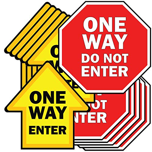 KitAbility Non-Slip Floor Graphic for Social Distancing, Arrow and Stop Sign, One Way Enter and Do Not Enter, 12 Pack Includes 6 of Each Shape Sticker