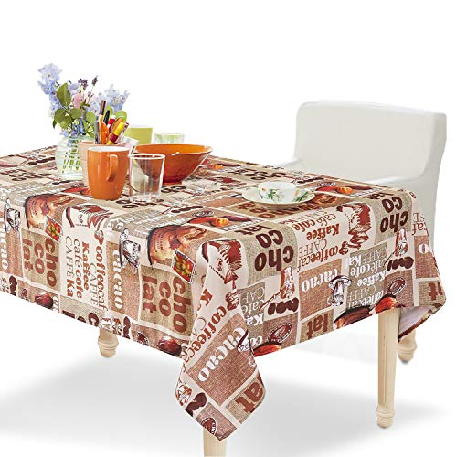 YEMYHOM 100% Polyester Spillproof Tablecloths for Rectangle Tables 60 x 84 Inch, Modern Printed Indoor Outdoor Camping Picnic Rectangular Table Cloth (Coffee Beans)