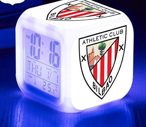 Reloj Despertador Digital con Snooze Club de fútbol Athletic de Bilbao luz de Noche Suave,Pantalla Grande con Hora,Fecha y Alarma,Alarma con Sonido Ascendente,niños regalo de Navidad