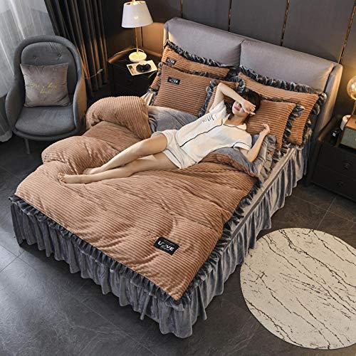 BettwäSche Teddy PlüSch,Gestreifte Kristallvlies Bettwäsche warme Sets, doppelte Bettbezüge und Leinen Spannbetttücher Doppelkönig Heimtextilien Kaffee 1,8 m Bett (A)