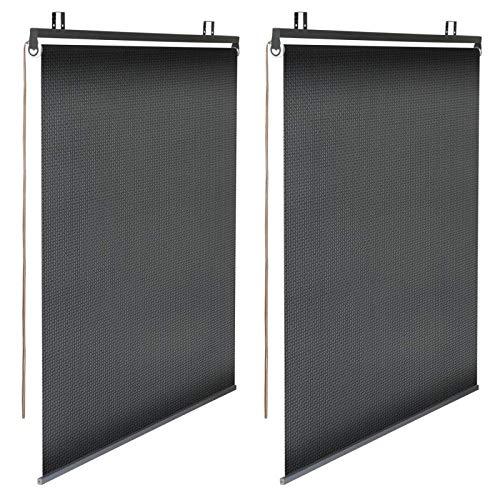 IDMarket - Lot de 2 Stores enrouleurs Noirs tamisants L. 120 CM x H. 225 CM pour pergola