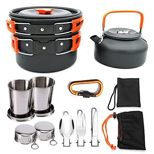 siddons Juego de tetera para acampar al aire libre Juego de ollas portátiles de la olla de campo Set vajilla-Orange_handle
