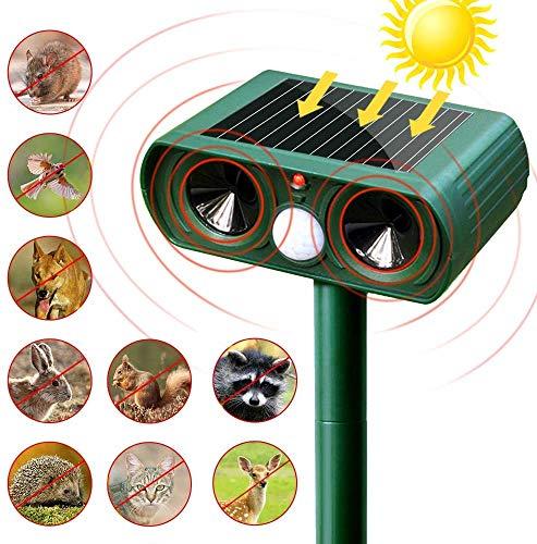 Repelente de Gatos,Solar a Prueba de Agua Repelente Ultrasónico,Con 2 Altavoces,Sensor PIR de Movimiento y Flash,Para Repeler Animales Nocivos Perros,Ratones,Zorros en Huertos de Jardín (31.5CM)