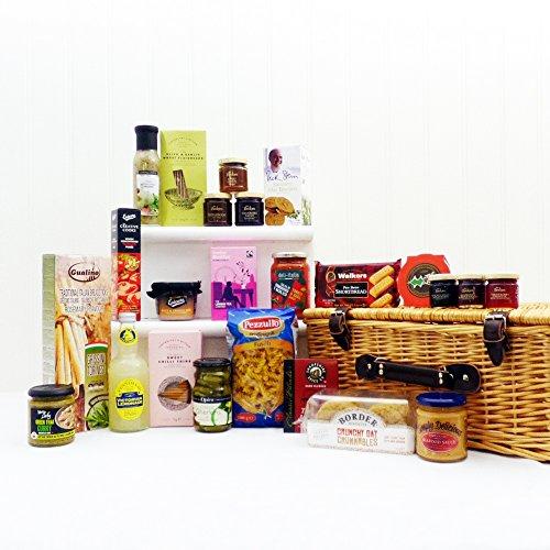 Deluxe cesto regalo di vimini con prodotti di gastronomia 24 - regalo ideale per il compleanno, anniversario, matrimonio