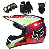 Casco MTB de Integrales, MJH-01 Set de Casco de Motocross para Niños Jóvenes Adultos con Gafas Guantes Máscara, para Downhill MX AVT Dirt Moto Bike - Homologado DOT - con Diseño Fox - Rojo Brillante