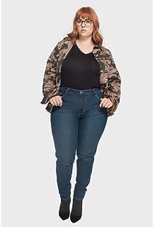 Calça Skinny Bigodes Plus Size Azul-46