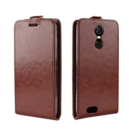 LMFULM® Hülle für OUKITEL C8 3G / 4G (5,5 Zoll) PU Leder Magnet Brieftasche Lederhülle Up-Down-Flip Design Standfunktion Ledertasche Cover für OUKITEL C8 Braun