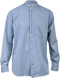 Irish Linen Grandfather Shirt, Cloud Blue