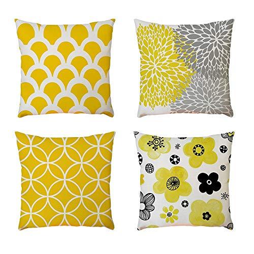 Cojines con amarillo y gris con modernos diseños
