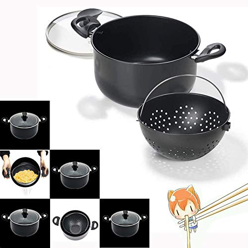 Dr.Cheol Escurridor Pasta Olla,Cooking Pot Stainless Steel,Non Stick Pan Set with Lid,Cacerola Grande Vitro
