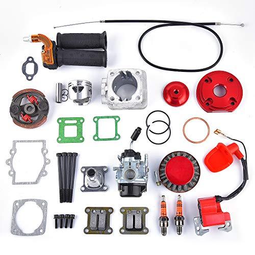 44mm Big Bore 53cc 54cc Performance Top End Upgrade Kit Carburetor 2 Stroke 47cc 49cc Engine Mini Quad Pocket Bike Red