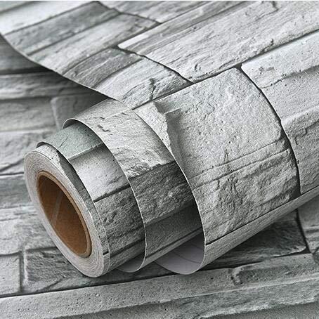 jidan Steinmuster-Ziegelstein-Tapete Aufkleber-Hauptdekor for Wohnzimmer Schlafzimmer wasserdichte PVC-Wand-Papiere Self Adhesive Kontakt Papier (Color : 1, Dimensions : 40cm x 2m)