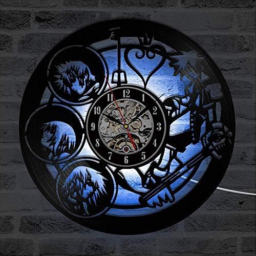 wwwff Kingdom Hearts Character 3D Dekoration LED Schallplattenuhr Kreative Schallplatte Art Deco Wanduhr Modernes Design